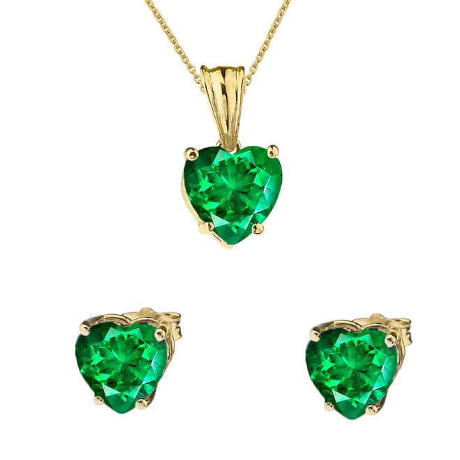 10K Yellow Gold Heart May Birthstone Emerald  (LCE) Pendant Necklace & Earring Set
