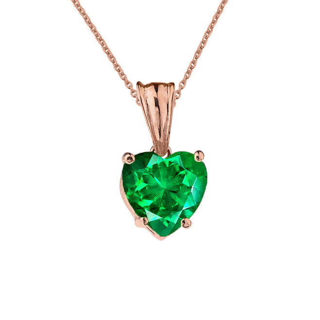 10K Rose Gold Heart May Birthstone Emerald  (LCE) Pendant Necklace