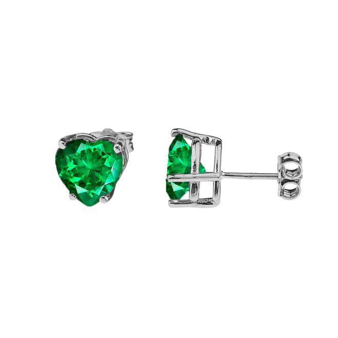 10K White Gold Heart May Birthstone Emerald  (LCE) Earrings