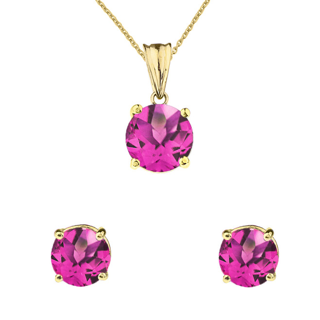 10K Yellow Gold June Birthstone Alexandrite(LCAL) Pendant Necklace & Earring Set