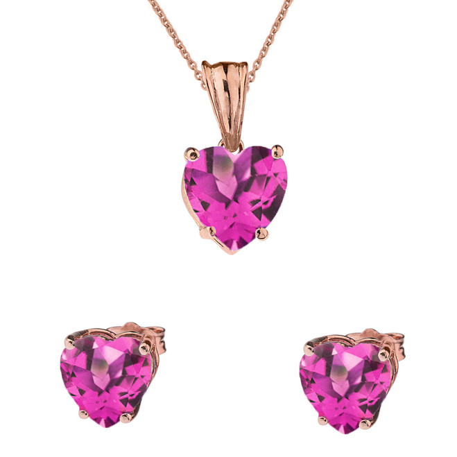 10K Rose Gold Heart June Birthstone Alexandrite (LCAL) Pendant Necklace & Earring Set