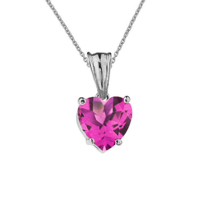 10K White Gold Heart June Birthstone Alexandrite (LCAL) Pendant Necklace