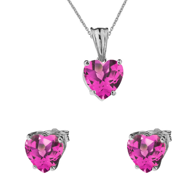 10K White Gold Heart June Birthstone Alexandrite (LCAL) Pendant Necklace & Earring Set