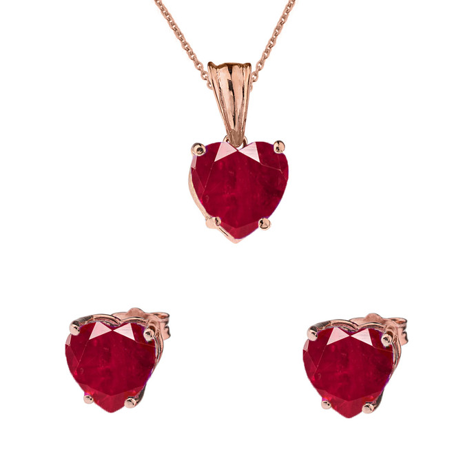 10K Rose Gold Heart July Birthstone Ruby (LCR) Pendant Necklace & Earring Set