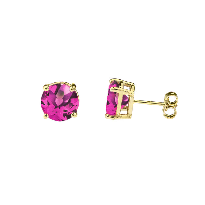 10K Yellow Gold June Birthstone Alexandrite (LCE) Earrings