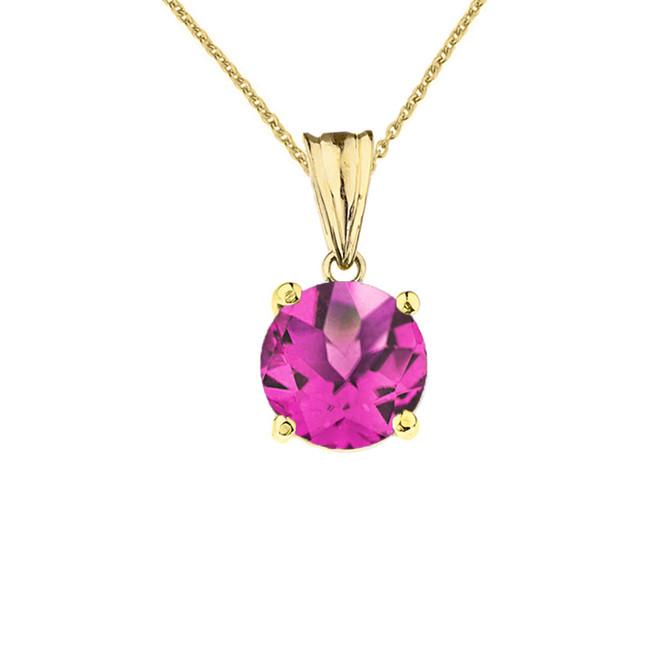 10K Yellow Gold June Birthstone Alexandrite (LCAL)  Pendant Necklace