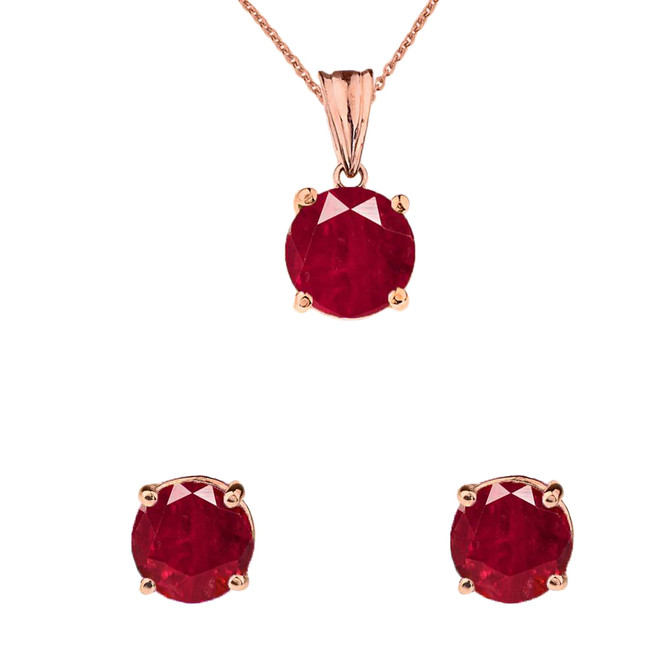 10K Rose Gold July Birthstone Ruby (LCR) Pendant Necklace & Earring Set