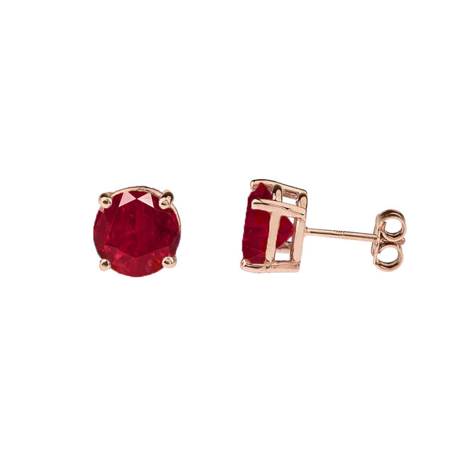 10K Rose Gold July Birthstone Ruby (LCR)Earrings