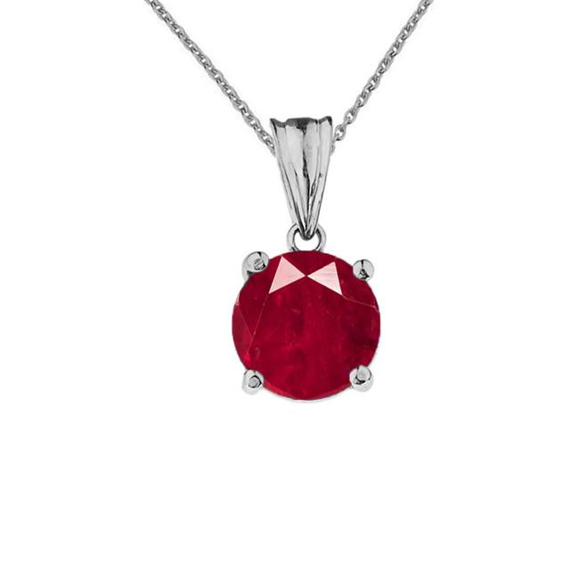 10K White Gold July Birthstone Ruby (LCR)  Pendant Necklace