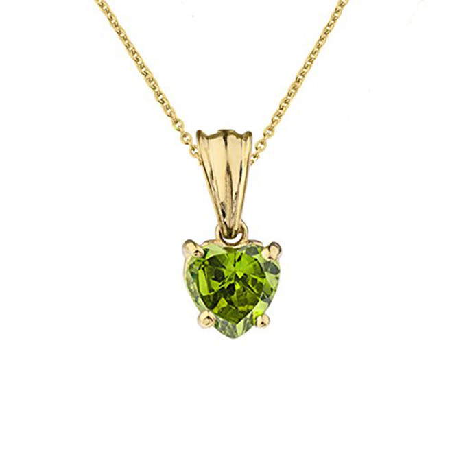 10K Yellow Gold Heart  August Birthstone Peridot (LCP) Pendant Necklace
