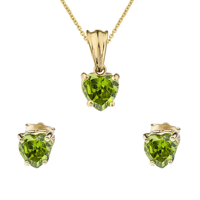 10K Yellow Gold Heart  August Birthstone Peridot (LCP) Pendant Necklace & Earring Set