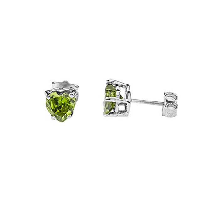10K White Gold Heart August Birthstone Peridot (LCP) Earrings