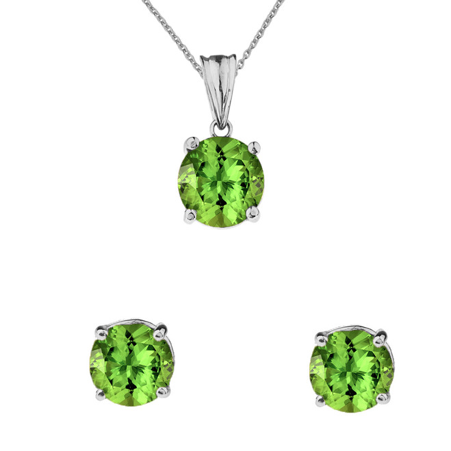 10K White Gold  August Birthstone Peridot (LCP) Pendant Necklace & Earring Set