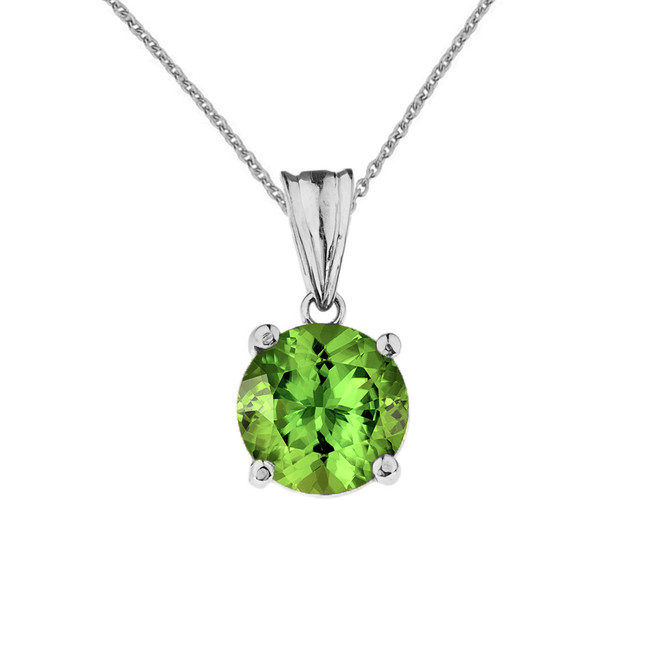 10K White Gold  August Birthstone Peridot (LCP)  Pendant Necklace