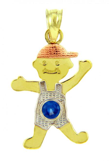Tri Tone Gold Boy Charm w/ CZ Sapphire Blue Boy
