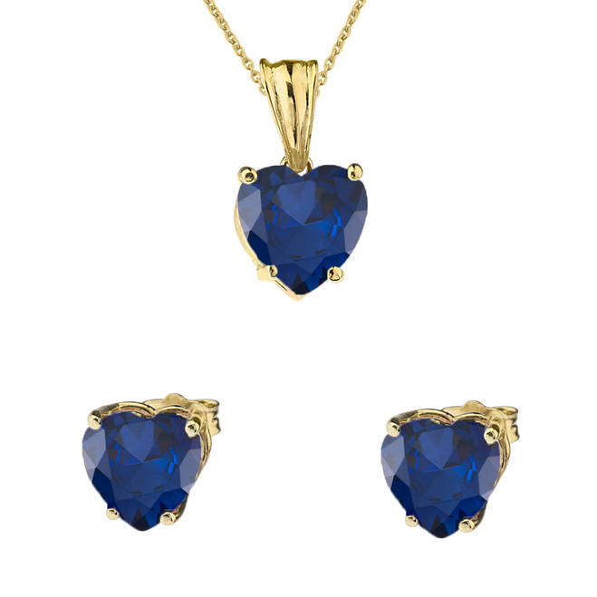 10K Yellow Gold Heart  September Birthstone Sapphire (LCS) Pendant Necklace & Earring Set