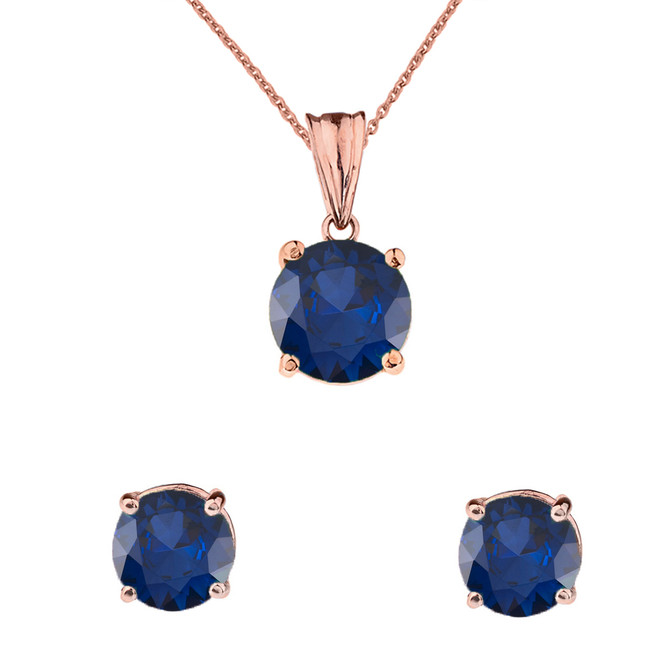 10K Rose Gold  September Birthstone Sapphire (LCS) Pendant Necklace & Earring Set