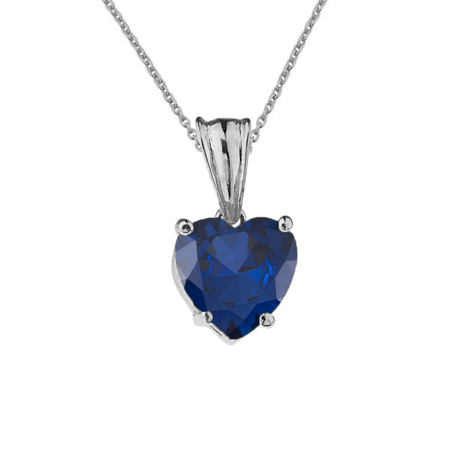 10K White Gold Heart  September Birthstone Sapphire (LCS) Pendant Necklace