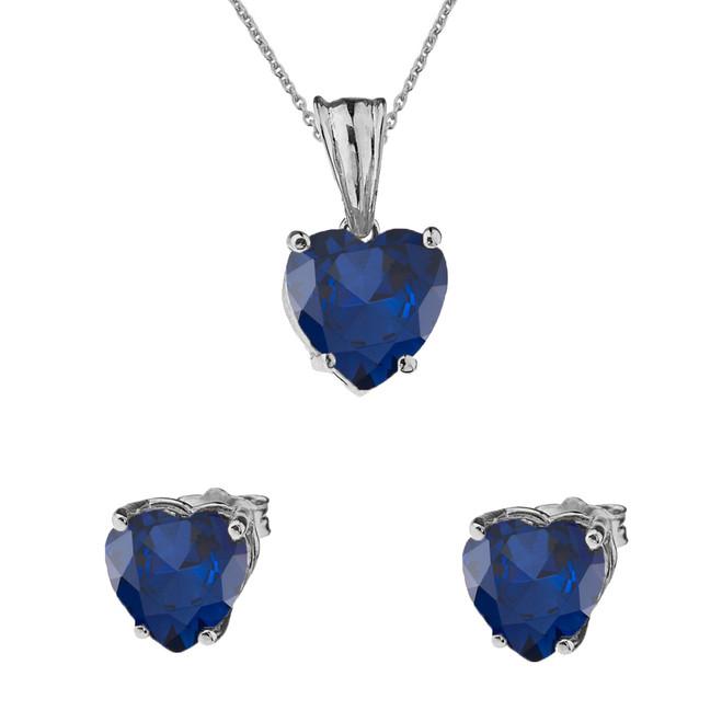 10K White Gold Heart September Birthstone Sapphire (LCS) Pendant Necklace & Earring Set