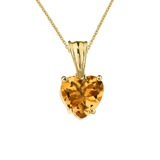 10K Yellow Gold Heart November Birthstone Citrine (LCC) Pendant Necklace