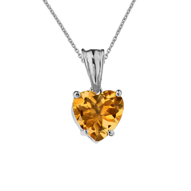 10K White Gold Heart November Birthstone Citrine (LCC) Pendant Necklace
