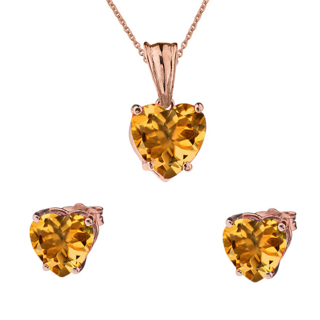 10K Rose Gold Heart November Birthstone Citrine (LCC) Pendant Necklace & Earring Set
