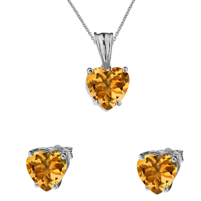 10K White Gold Heart November Birthstone Citrine(LCC) Pendant Necklace & Earring Set