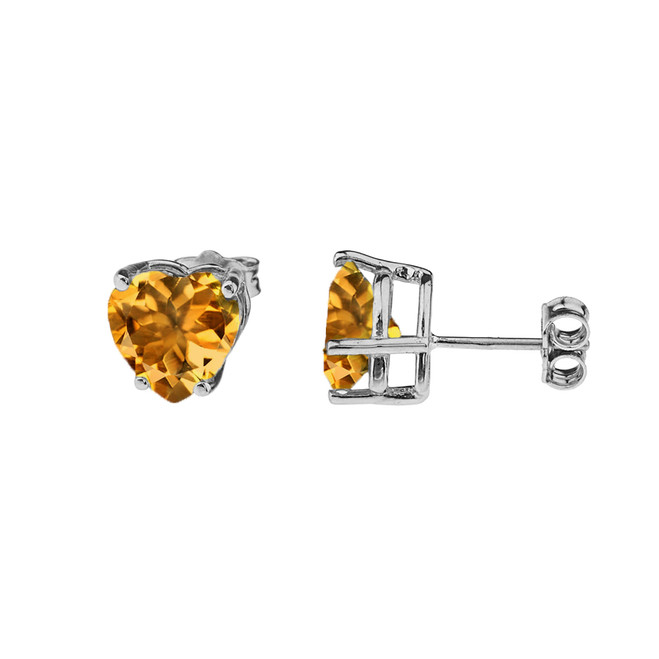 10K White Gold Heart November Birthstone Citrine (LCC) Earrings