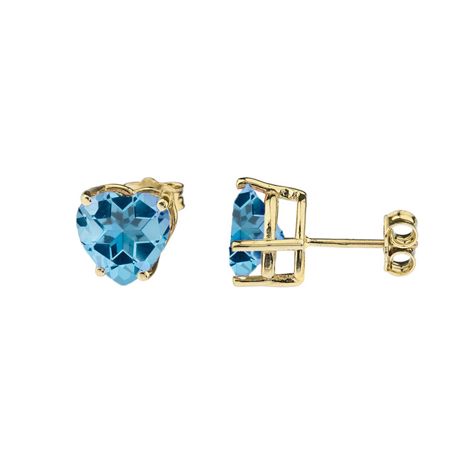 10K Yellow Gold Heart December Birthstone Blue Topaz (LCBT) Earrings