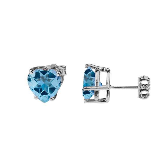 10K White Gold Heart December Birthstone Blue Topaz (LCBT) Earrings