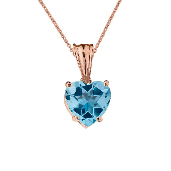 10K Rose Gold Heart December Birthstone Blue Topaz (LCBT) Pendant Necklace
