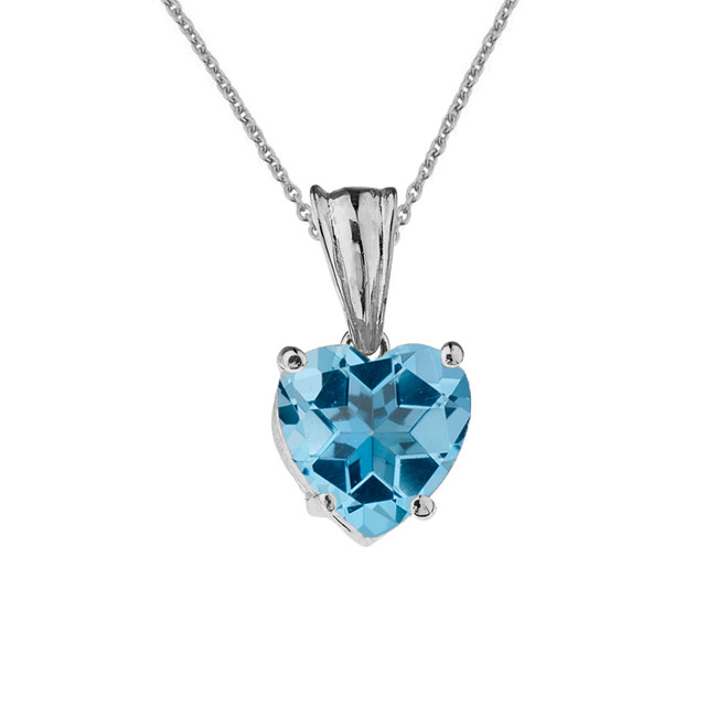 10K White Gold Heart December Birthstone Blue Topaz (LCBT) Pendant Necklace