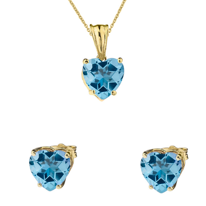 10K Yellow Gold Heart December Birthstone Blue Topaz (LCBT) Pendant Necklace & Earring Set