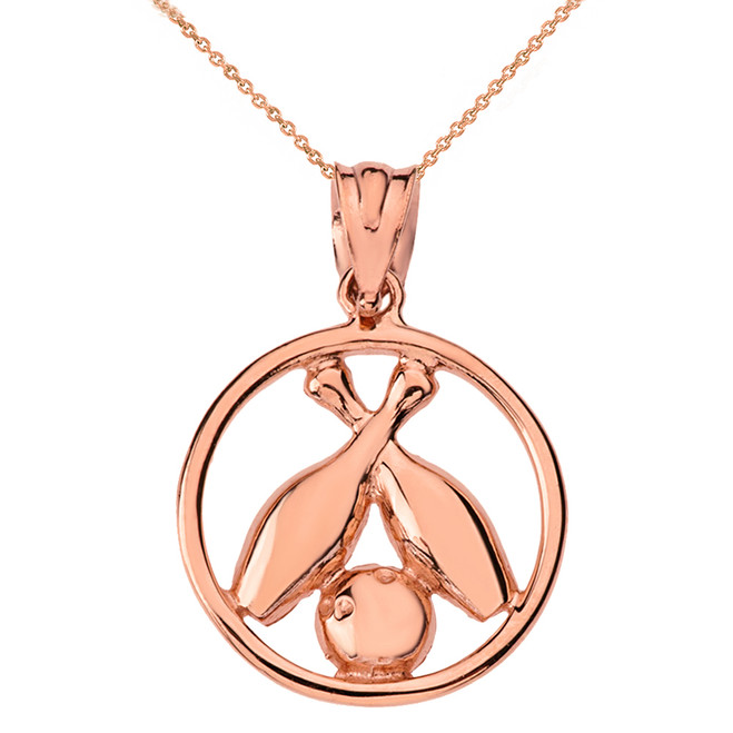 Solid Rose Gold Circle Bowling Pendant Necklace