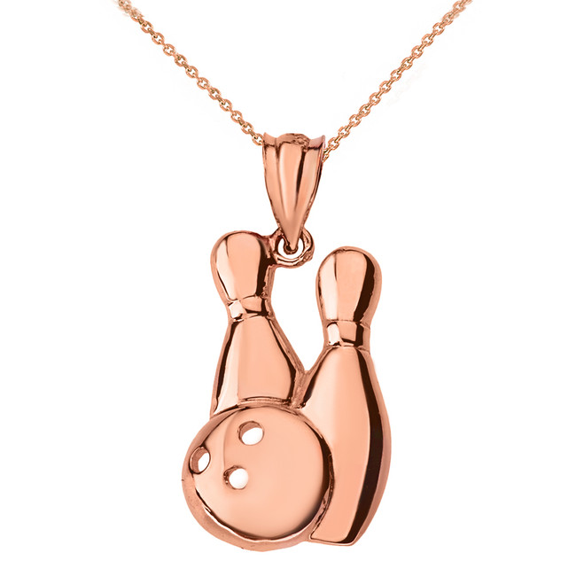 Solid Rose Gold Bowling Pendant Necklace