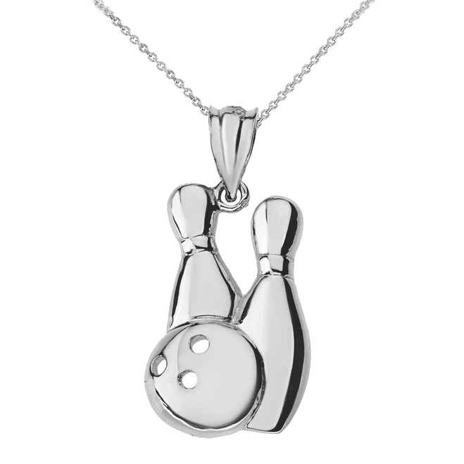 Solid White Gold Bowling Pendant Necklace