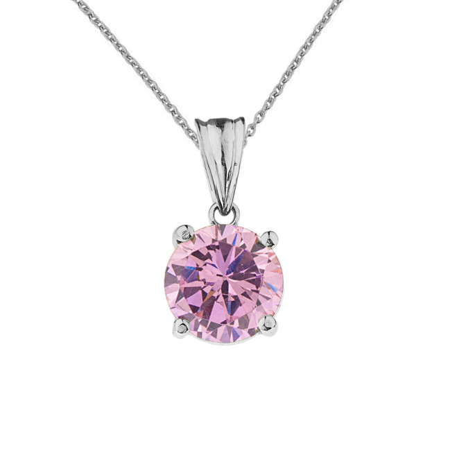 10K White  Gold  October Birthstone Pink Cubic Zirconia  (LCPZ)  Pendant Necklace