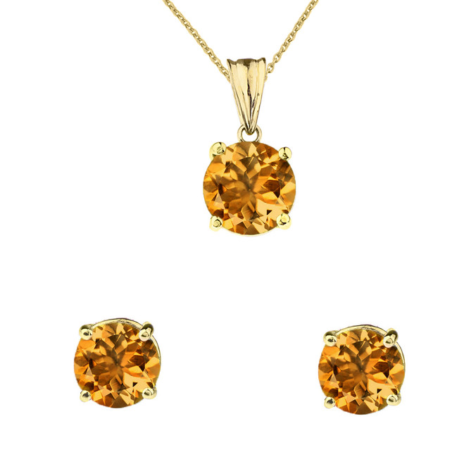 10K Yellow Gold November Birthstone Citrine (LCC) Pendant Necklace & Earring Set