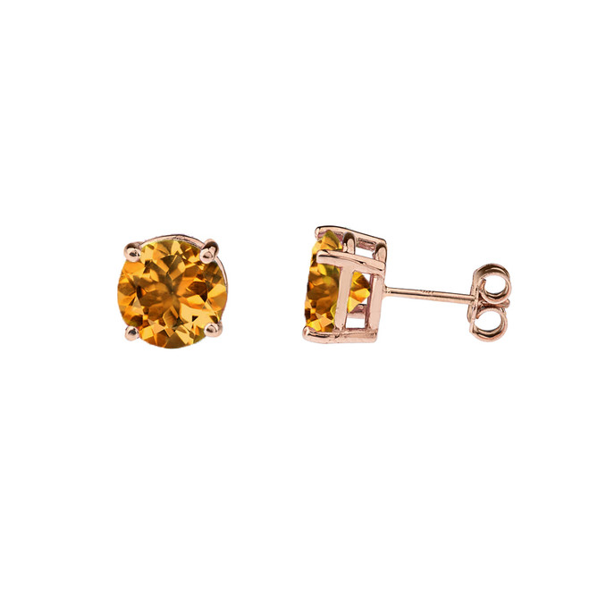 10K Rose Gold  November Birthstone Citrine (LCC) Earrings