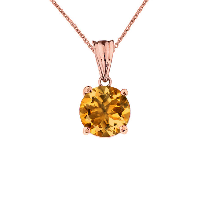 10K Rose Gold November Birthstone Citrine (LCC) Pendant Necklace