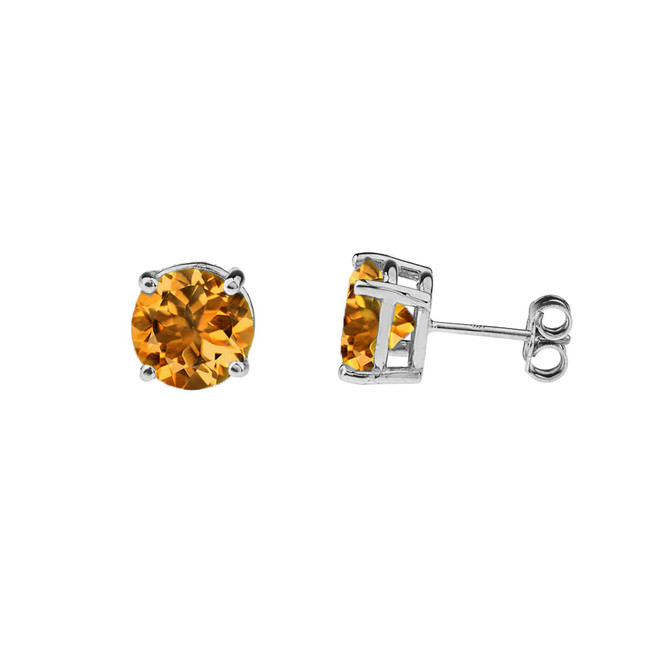 10K White Gold  November Birthstone Citrine (LCC) Earrings