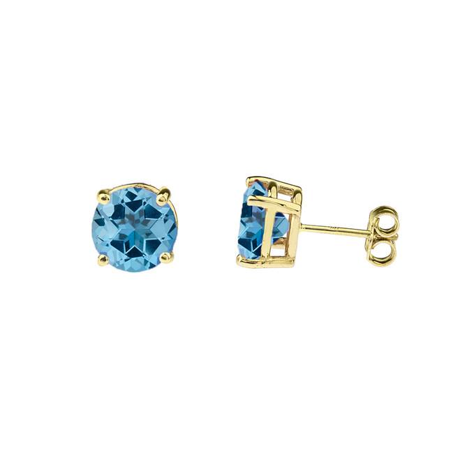 10K Yellow Gold  December Birthstone Blue Topaz (LCBT) Earrings