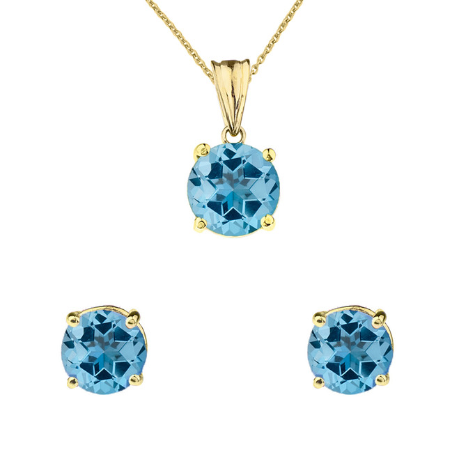 10K Yellow Gold December Birthstone Blue Topaz (LCBT) Pendant Necklace & Earring Set