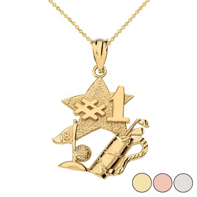 Number One Golfer Pendant Necklace in Solid Gold (Yellow/Rose/White)