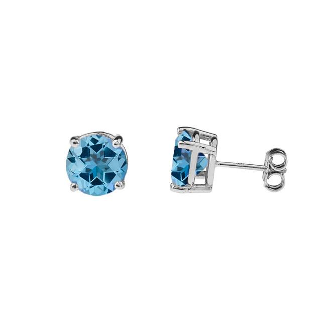10K White Gold  December Birthstone Blue Topaz (LCBT) Earrings