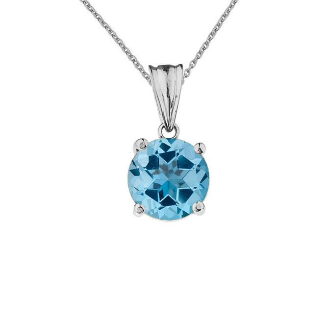 10K White Gold December Birthstone Blue Topaz (LCBT) Pendant Necklace