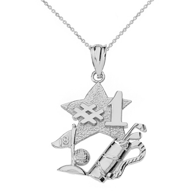 Sterling Silver Number One Golfer Pendant Necklace