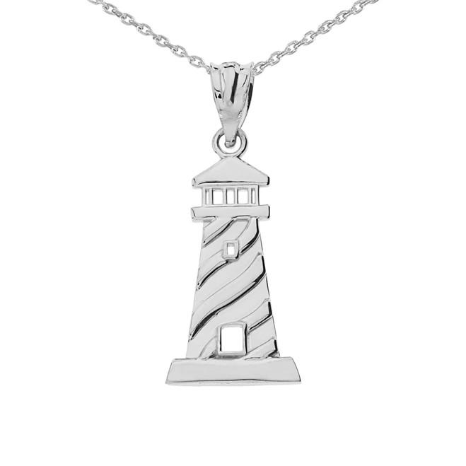 White  Gold Lighthouse Pendant Necklace