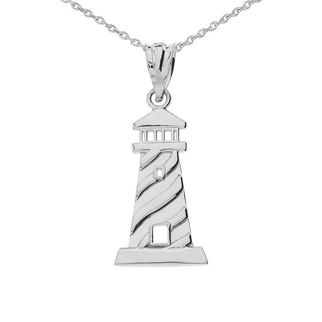 Sterling Silver Lighthouse Pendant Necklace