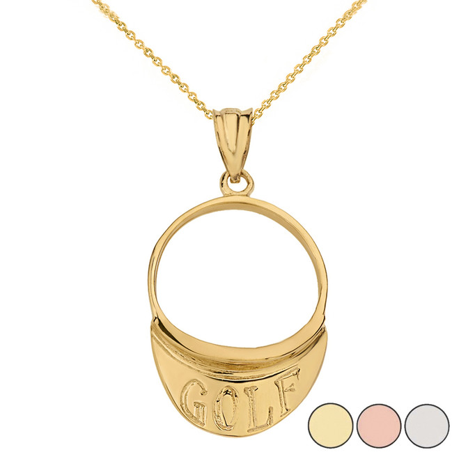 Golf Visor Pendant Necklace  in Solid Gold (Yellow/Rose/White)